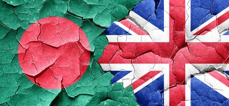 bangladesh: Bangladesh flag with Great Britain flag on a grunge cracked wall