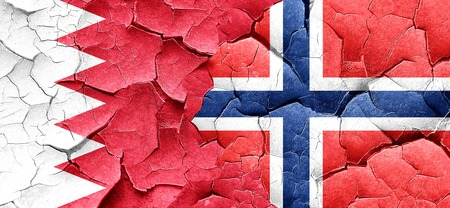 norway flag: Bahrain flag with Norway flag on a grunge cracked wall Stock Photo