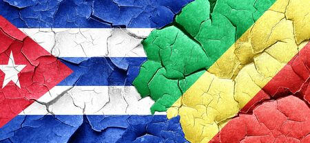 cuba flag: Cuba flag with congo flag on a grunge cracked wall Stock Photo