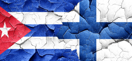 bandera cuba: Cuba flag with Finland flag on a grunge cracked wall Foto de archivo