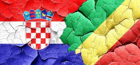 bandera de croacia: Bandera de Croacia con la bandera de Congo en una pared agrietada grunge Foto de archivo