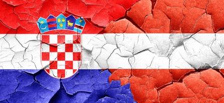 bandera croacia: croatia flag with Austria flag on a grunge cracked wall