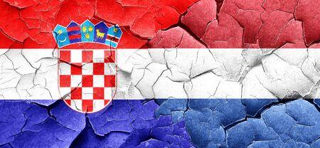 bandera croacia: Bandera de Croacia con la bandera de Pa�ses Bajos en una pared agrietada grunge