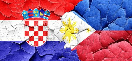 philippino: croatia flag with Philippines flag on a grunge cracked wall