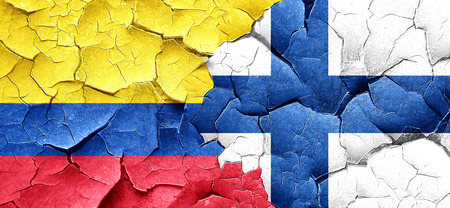 bandera de colombia: Colombia flag with Finland flag on a grunge cracked wall