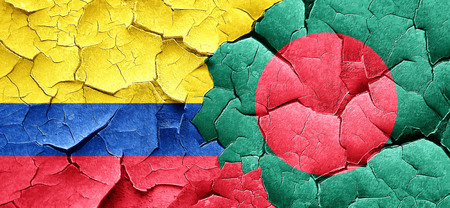 colombian flag: Colombia flag with Bangladesh flag on a grunge cracked wall Stock Photo