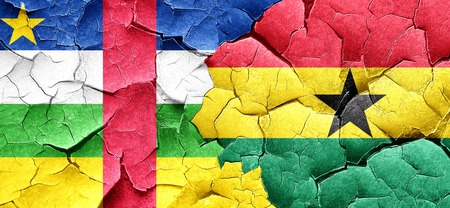 ghanese: Central african republic flag with Ghana flag on a grunge cracked wall