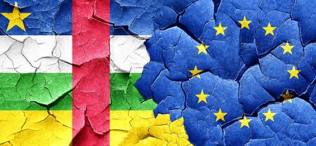 central european: Central african republic flag with european union flag on a grunge cracked wall Stock Photo