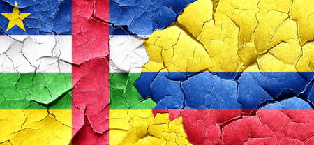 republic of colombia: Central african republic flag with Colombia flag on a grunge cracked wall