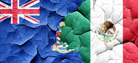 cayman: cayman islands flag with Mexico flag on a grunge cracked wall