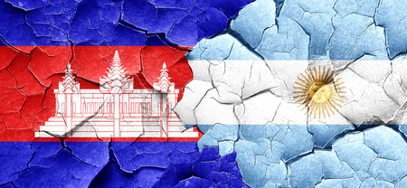 argentine: Cambodia flag with Argentine flag on a grunge cracked wall