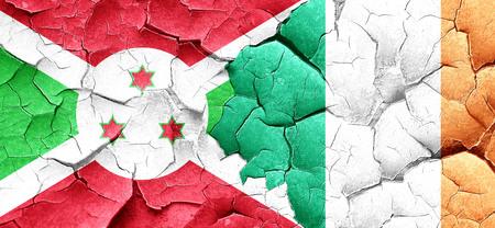 bandera de irlanda: Burundi flag with Ireland flag on a grunge cracked wall