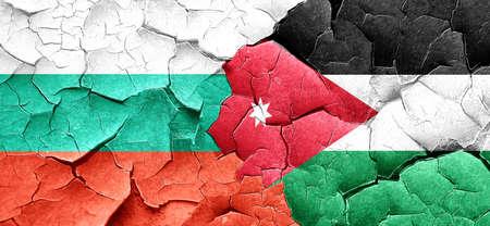 cracked wall: bulgaria flag with Jordan flag on a grunge cracked wall