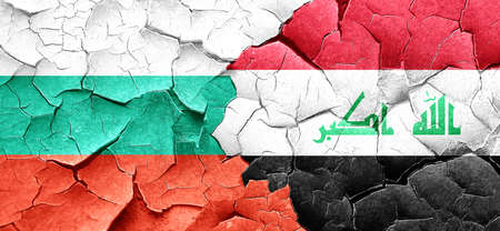 cracked wall: bulgaria flag with Iraq flag on a grunge cracked wall