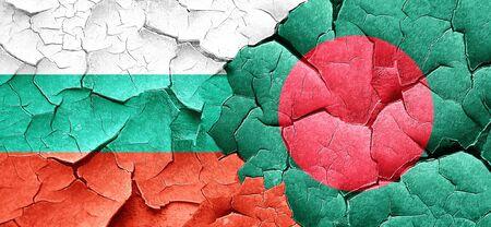 grunge flag: bulgaria flag with Bangladesh flag on a grunge cracked wall