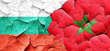 cracked wall: bulgaria flag with Morocco flag on a grunge cracked wall Stock Photo