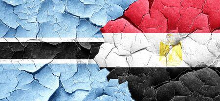 bandera egipto: Botswana flag with egypt flag on a grunge cracked wall