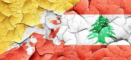 lebanon: Bhutan flag with Lebanon flag on a grunge cracked wall