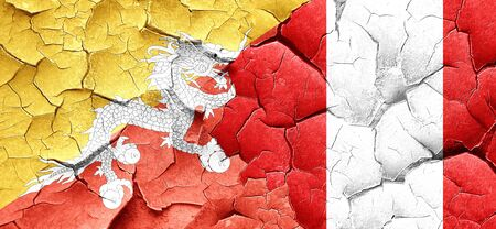 peru flag: Bhutan flag with Peru flag on a grunge cracked wall
