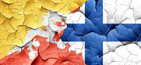 FINLAND flag: Bhutan flag with Finland flag on a grunge cracked wall