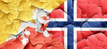 norway flag: Bhutan flag with Norway flag on a grunge cracked wall