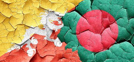 bangladesh: Bhutan flag with Bangladesh flag on a grunge cracked wall Stock Photo