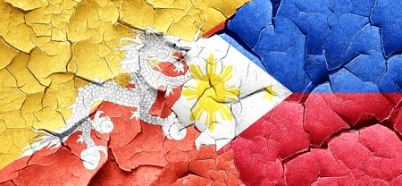 philippino: Bhutan flag with Philippines flag on a grunge cracked wall Stock Photo