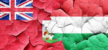 bermuda: bermuda flag with Hungary flag on a grunge cracked wall