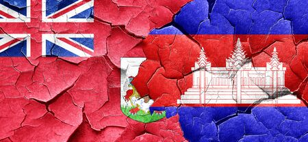 cambodian flag: bermuda flag with Cambodia flag on a grunge cracked wall
