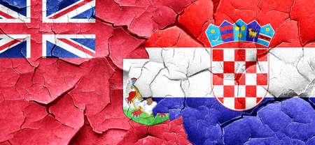 bandera croacia: bermuda flag with Croatia flag on a grunge cracked wall