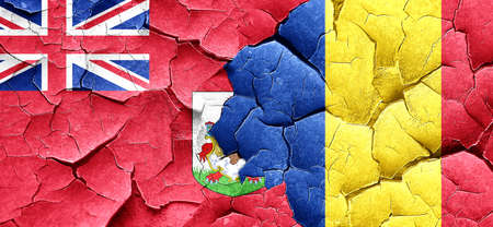 bermuda: bermuda flag with Romania flag on a grunge cracked wall