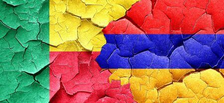 armenia: Benin flag with Armenia flag on a grunge cracked wall Stock Photo