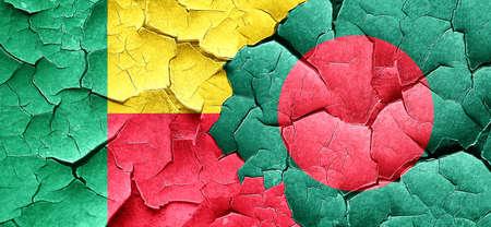bangladesh: Benin flag with Bangladesh flag on a grunge cracked wall Stock Photo