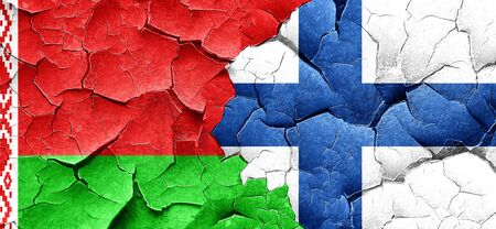 FINLAND flag: Belarus flag with Finland flag on a grunge cracked wall Stock Photo