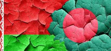 bangladesh: Belarus flag with Bangladesh flag on a grunge cracked wall