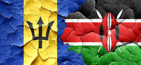 kenya: Barbados flag with Kenya flag on a grunge cracked wall