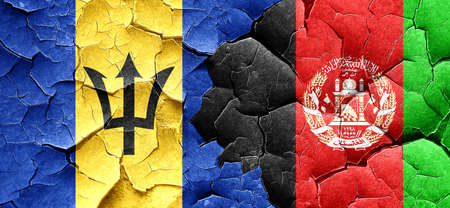 afghanistan flag: Barbados flag with afghanistan flag on a grunge cracked wall Stock Photo