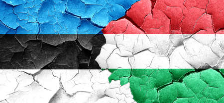 cracked wall: estonia flag with Hungary flag on a grunge cracked wall