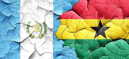 bandera de guatemala: guatemala flag with Ghana flag on a grunge cracked wall