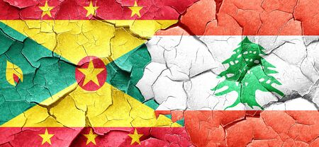 grenada: Grenada flag with Lebanon flag on a grunge cracked wall Stock Photo