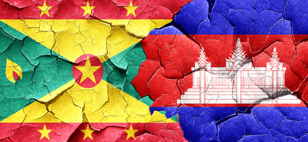 cambodian flag: Grenada flag with Cambodia flag on a grunge cracked wall Stock Photo