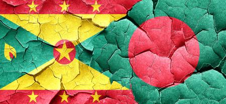 bangladesh: Grenada flag with Bangladesh flag on a grunge cracked wall Stock Photo