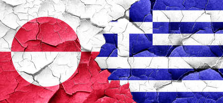 greenland: greenland flag with Greece flag on a grunge cracked wall Stock Photo