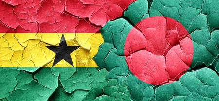 bangladesh: Ghana flag with Bangladesh flag on a grunge cracked wall