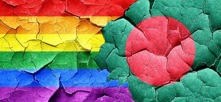 bangladesh: Gay pride flag with Bangladesh flag on a grunge cracked wall