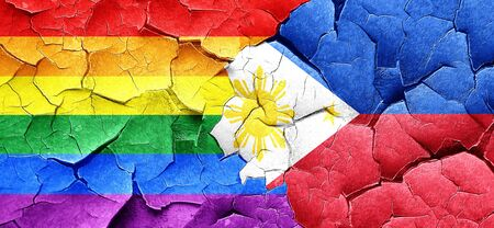 philippino: Gay pride flag with Philippines flag on a grunge cracked wall