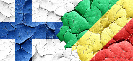 congo: finland flag with congo flag on a grunge cracked wall