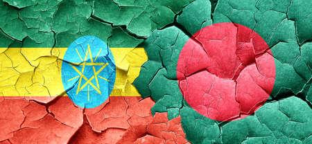 bangladesh: Ethiopia flag with Bangladesh flag on a grunge cracked wall