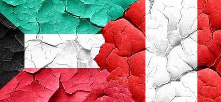 bandera de peru: Kuwait flag with Peru flag on a grunge cracked wall Foto de archivo