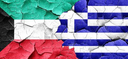 cracked wall: Kuwait flag with Greece flag on a grunge cracked wall